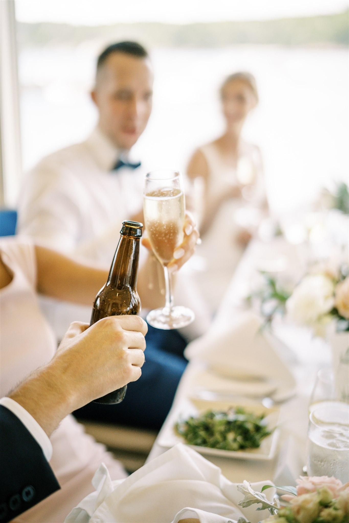 Raising glasses at a wedding reception at the Bar Harbor Inn